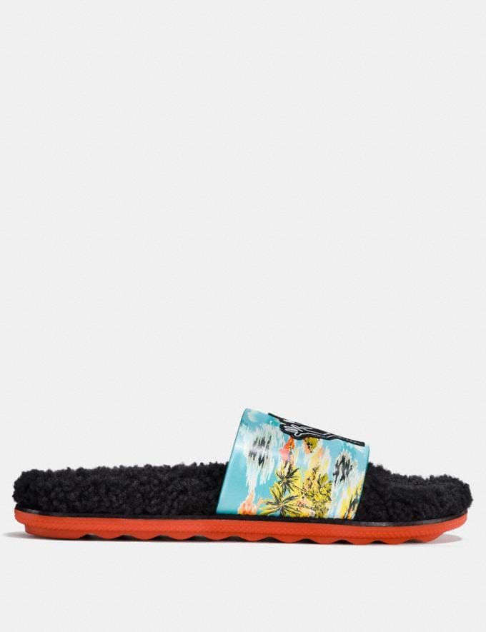 Coach Coach X Keith Haring Shearling Slide Keith Haring Hawaiian Blue CYBER MONDAY SALE Men's Sale Shoes Alternate View 1