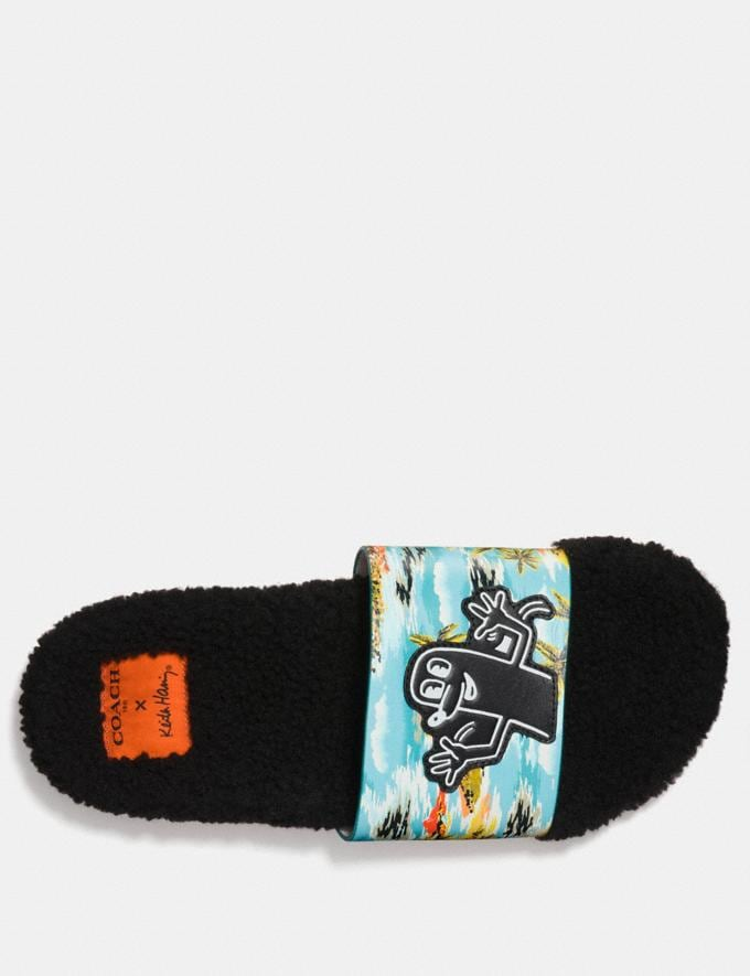 Coach Coach X Keith Haring Shearling Slide Keith Haring Hawaiian Blue CYBER MONDAY SALE Men's Sale Shoes Alternate View 2