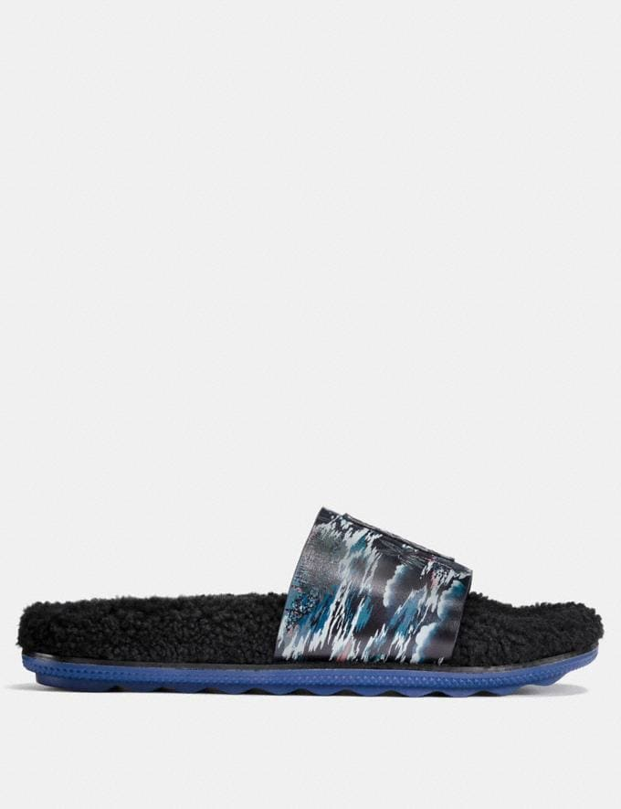 Coach Coach X Keith Haring Shearling Slide Keith Haring Hawaiian Black CYBER MONDAY SALE Men's Sale Shoes Alternate View 1