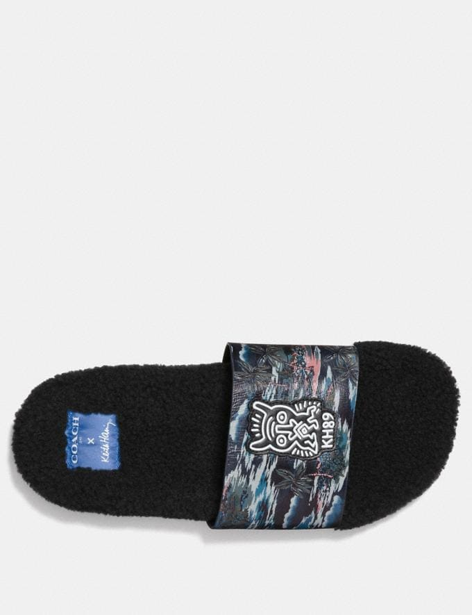 Coach Coach X Keith Haring Shearling Slide Keith Haring Hawaiian Black CYBER MONDAY SALE Men's Sale Shoes Alternate View 2