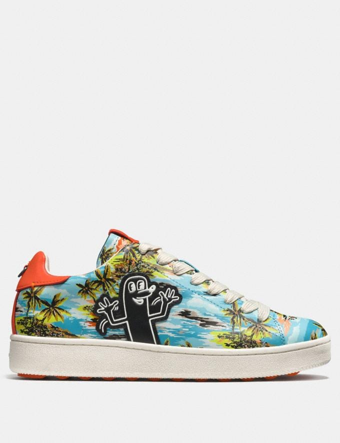 Coach Coach X Keith Haring C101 Low Top Sneaker Keith Haring Hawaiian Blue CYBER MONDAY SALE Men's Sale Shoes Alternate View 1