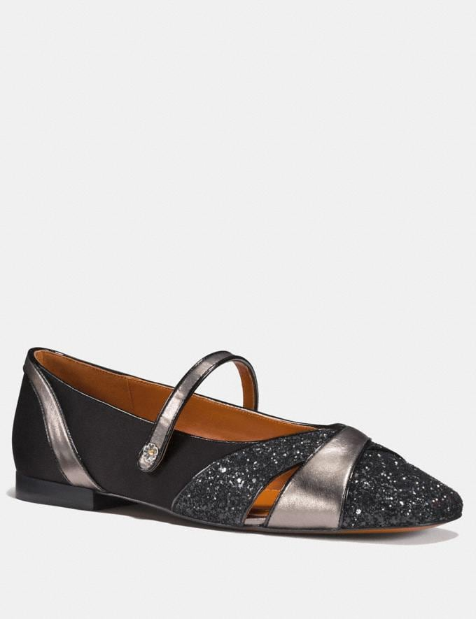 Coach Mary Jane Flat Black/Gunmetal SALE Women's Sale Shoes
