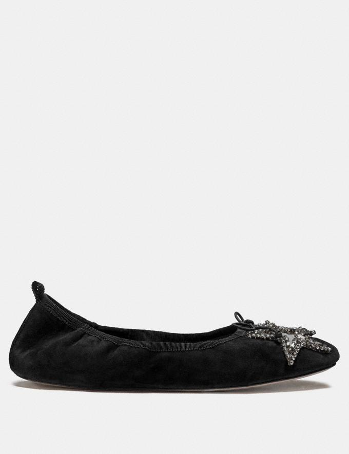 Coach Margot Ballet With Crystal Star Patch Black Women Shoes Flats Alternate View 1