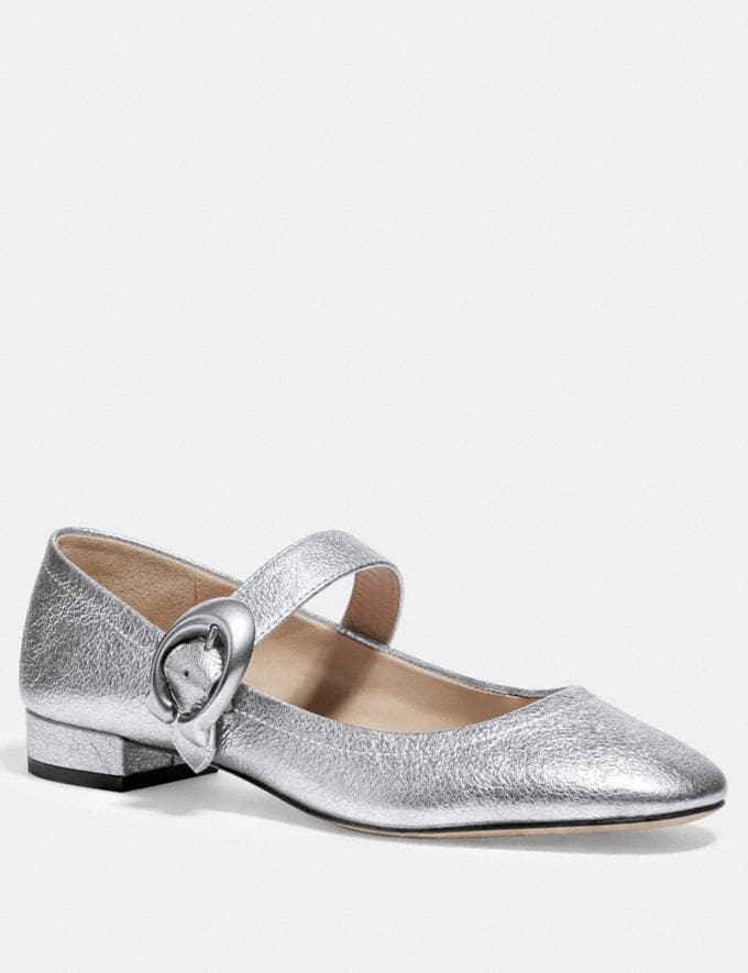 Coach Lexi Mary Jane Silver Women Shoes Flats