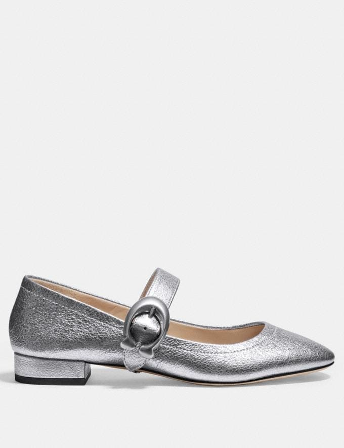 Coach Lexi Mary Jane Silver Women Shoes Flats Alternate View 1