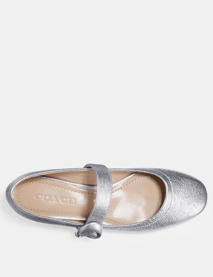 Coach Lexi Mary Jane Silver Women Shoes Flats Alternate View 2