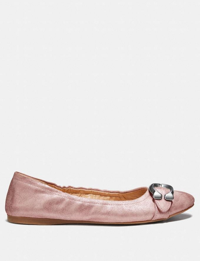 Coach Stanton Ballet Metallic Rose Women Shoes Flats Alternate View 1