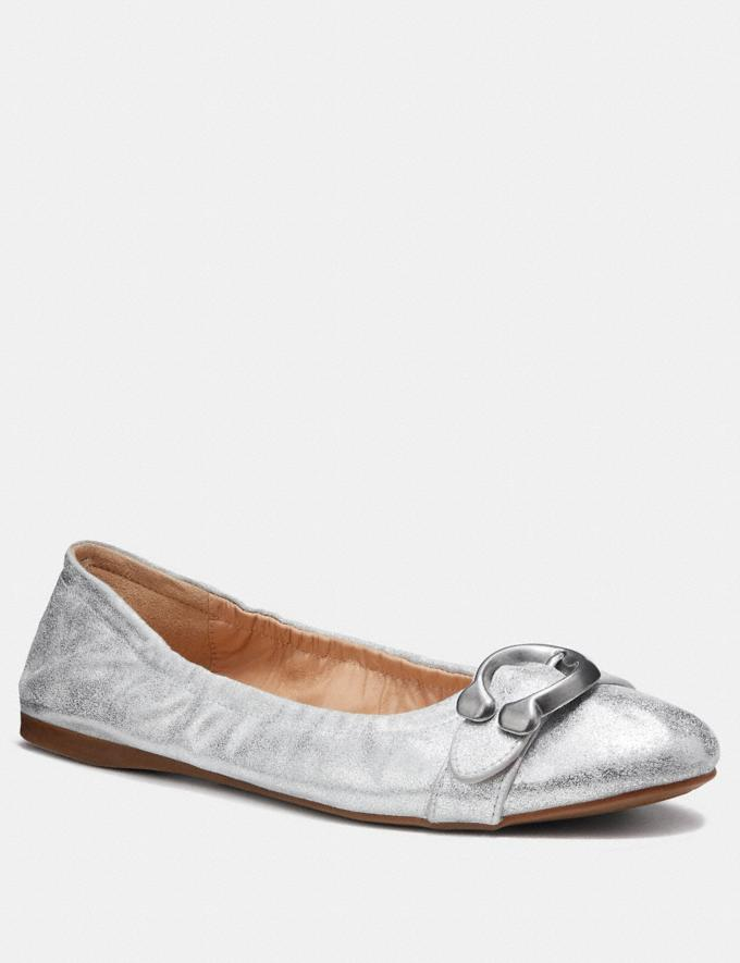 Coach Stanton Ballet Silver Women Shoes Flats