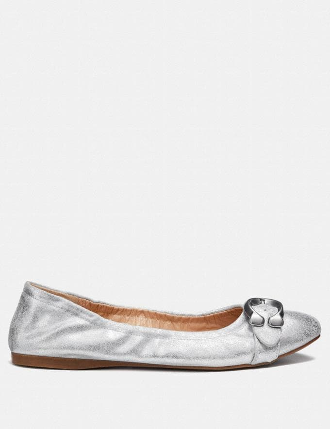 Coach Stanton Ballet Silver Women Shoes Flats Alternate View 1