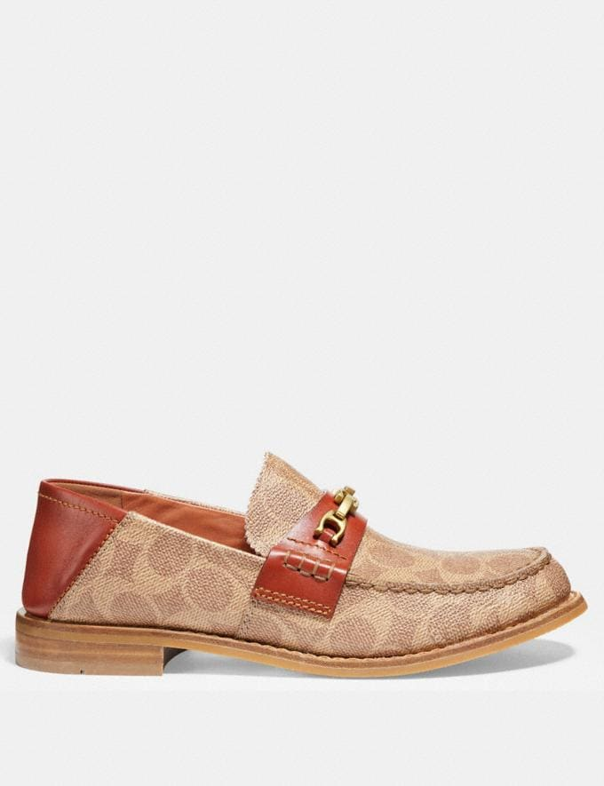 Coach Putnam Loafer in Signature Canvas Tan/Rust  Alternate View 1
