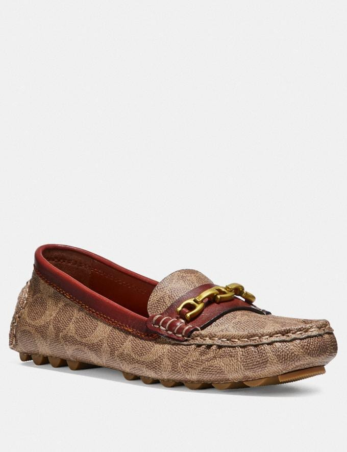 Coach Crosby Driver in Signature Canvas Tan/Rust Women Shoes Flats