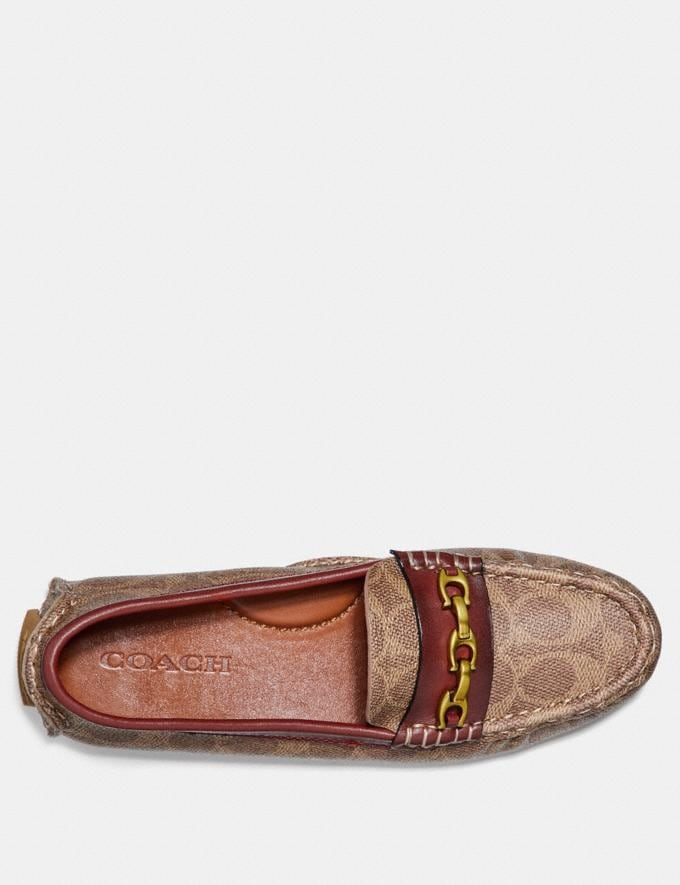Coach Crosby Driver in Signature Canvas Tan/Rust Women Shoes Flats Alternate View 2