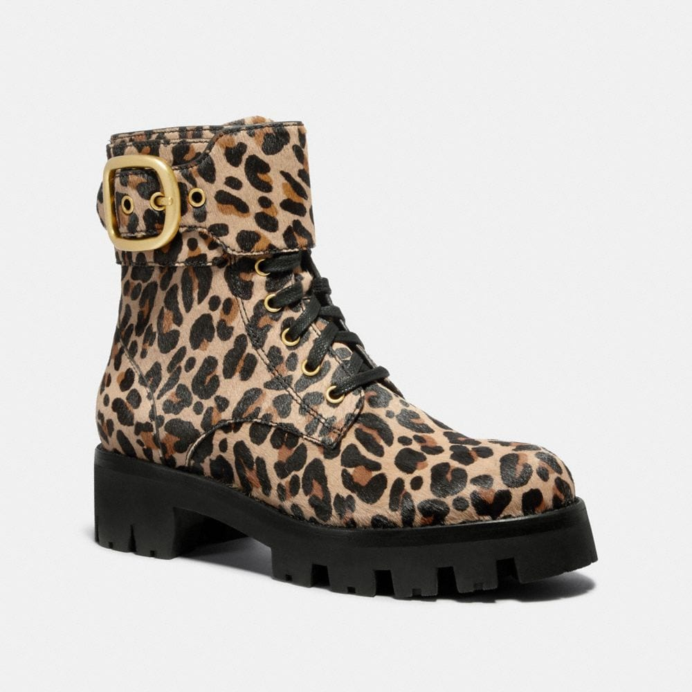 Coach Lucy Lace Up Bootie With Leopard Print