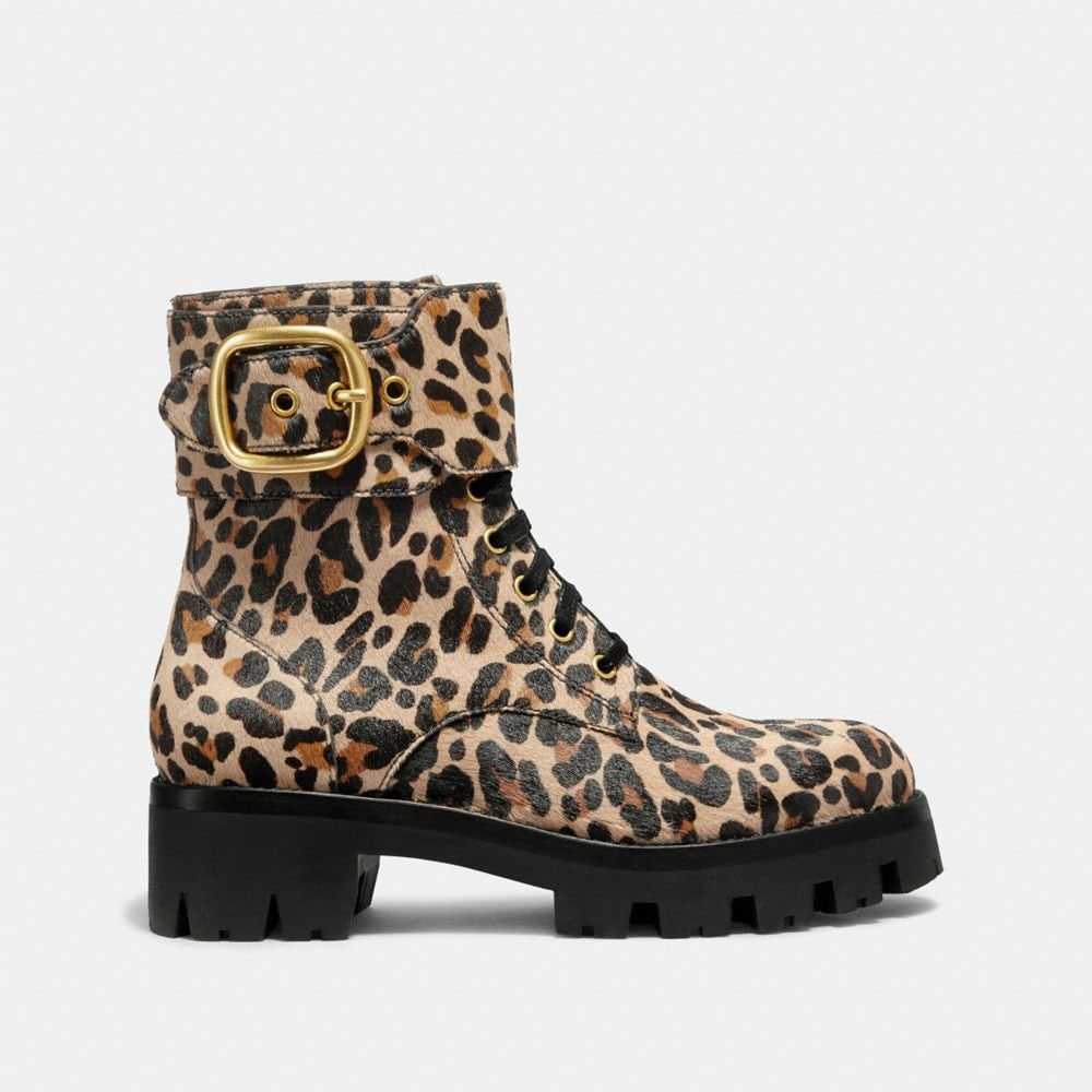 Coach Lucy Lace Up Bootie With Leopard Print Alternate View 1