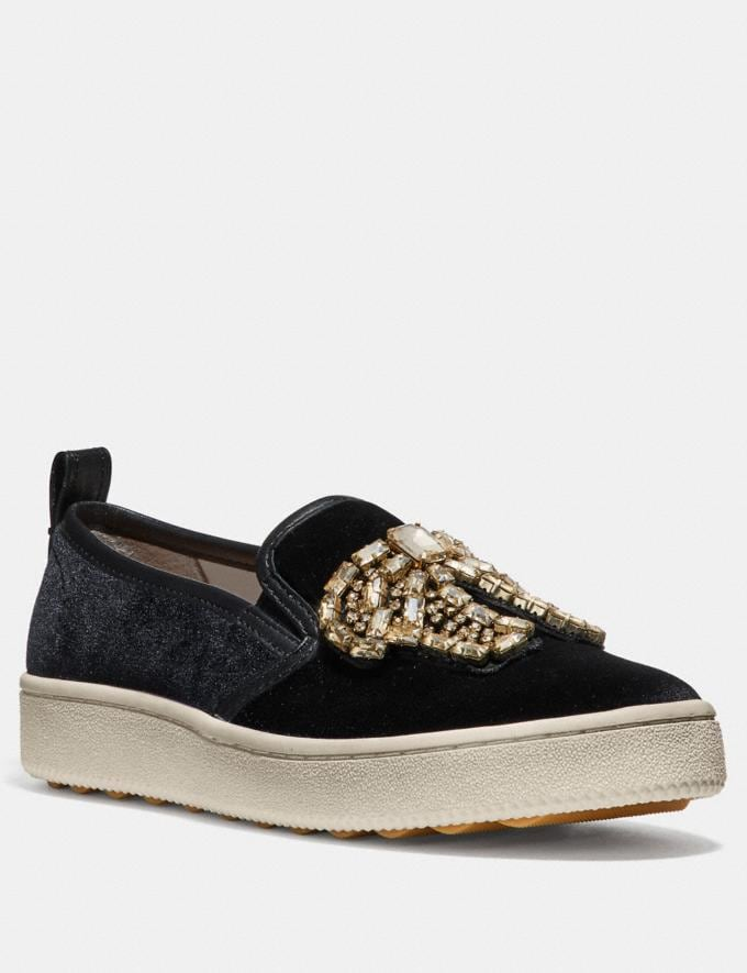 Coach C115 With Crystal Bow Patches Black SALE For Her Shoes