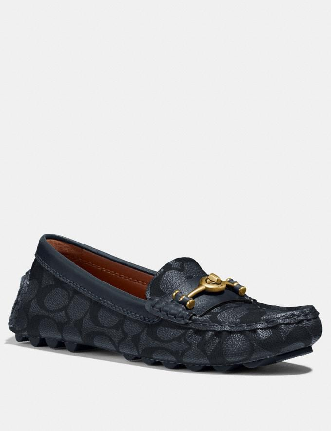 Coach Crosby Turnlock Driver in Signature Canvas Charcoal/Midnight Navy Women Shoes Flats