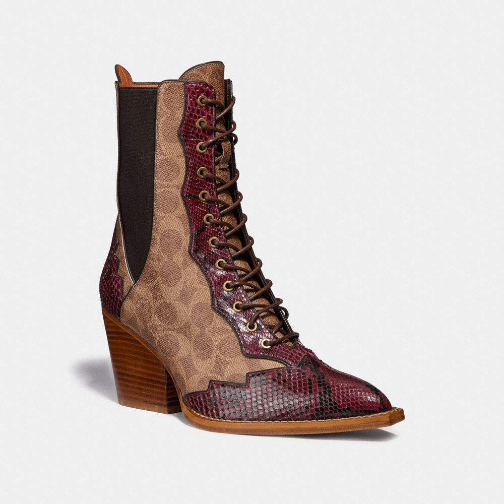 Coach Lace Up Bootie in Signature Canvas With Snake Detail