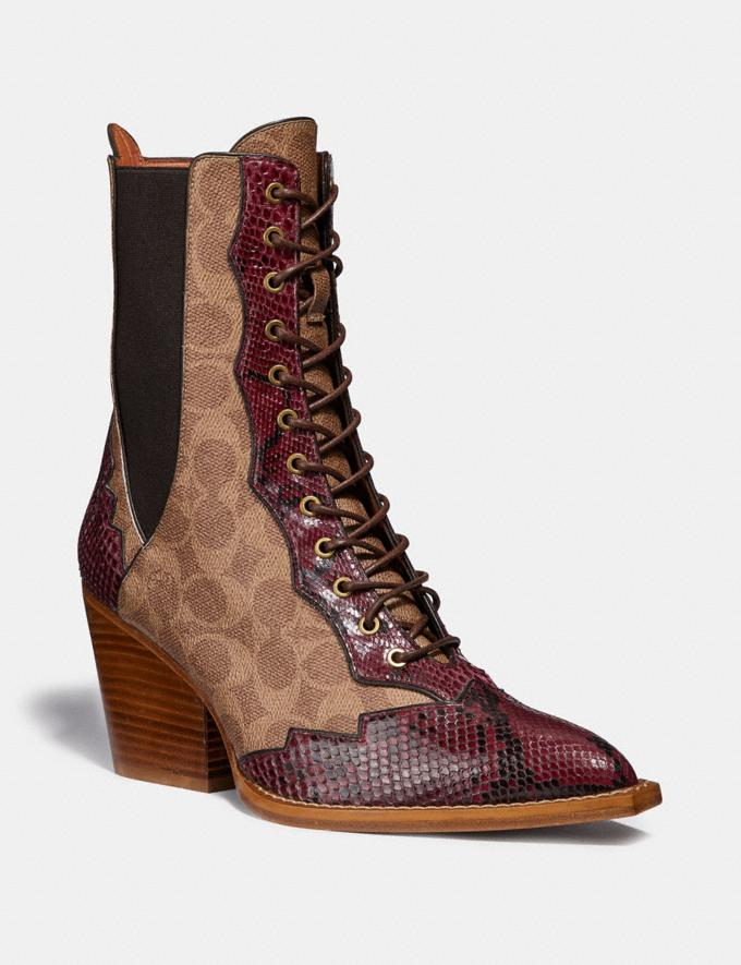 Coach Lace Up Bootie in Signature Canvas With Snake Detail Tan Women Shoes Booties