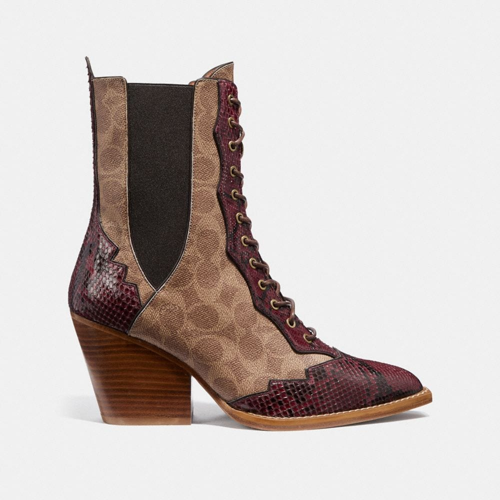 Coach Lace Up Bootie in Signature Canvas With Snake Detail Alternate View 1