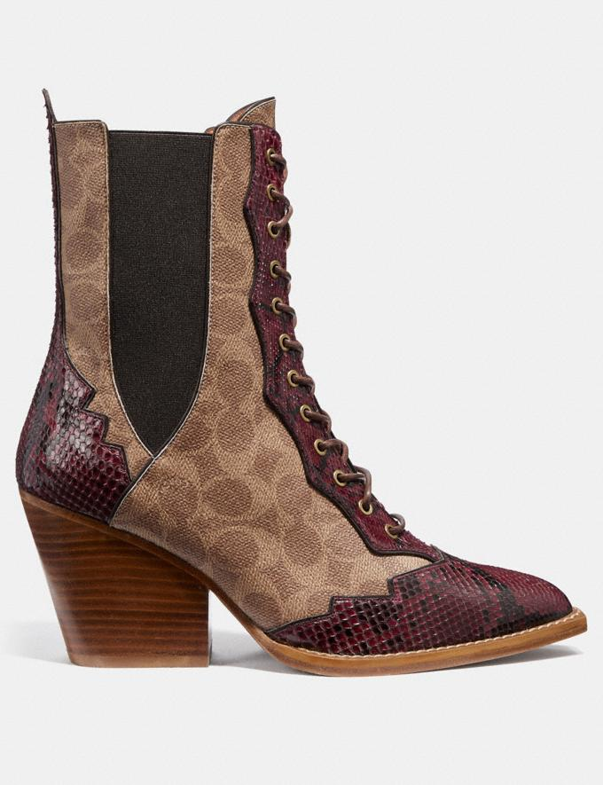 Coach Lace Up Bootie in Signature Canvas With Snake Detail Tan Women Shoes Booties Alternate View 1