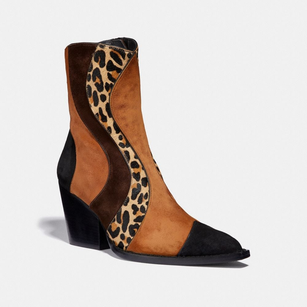 Coach Patchwork Bootie With Leopard Print