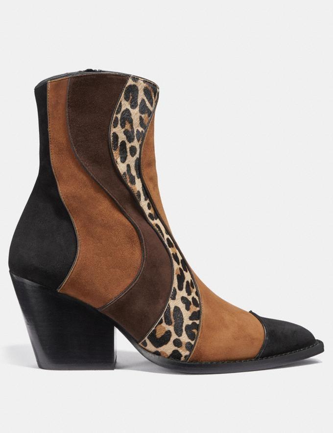 Coach Patchwork Bootie With Leopard Print Black/Cedar/Natural/Espresso Women Shoes Boots Alternate View 1