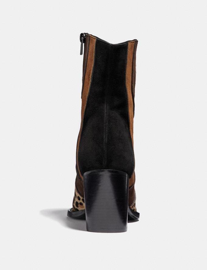 Coach Patchwork Bootie With Leopard Print Black/Cedar/Natural/Espresso Women Shoes Boots Alternate View 3