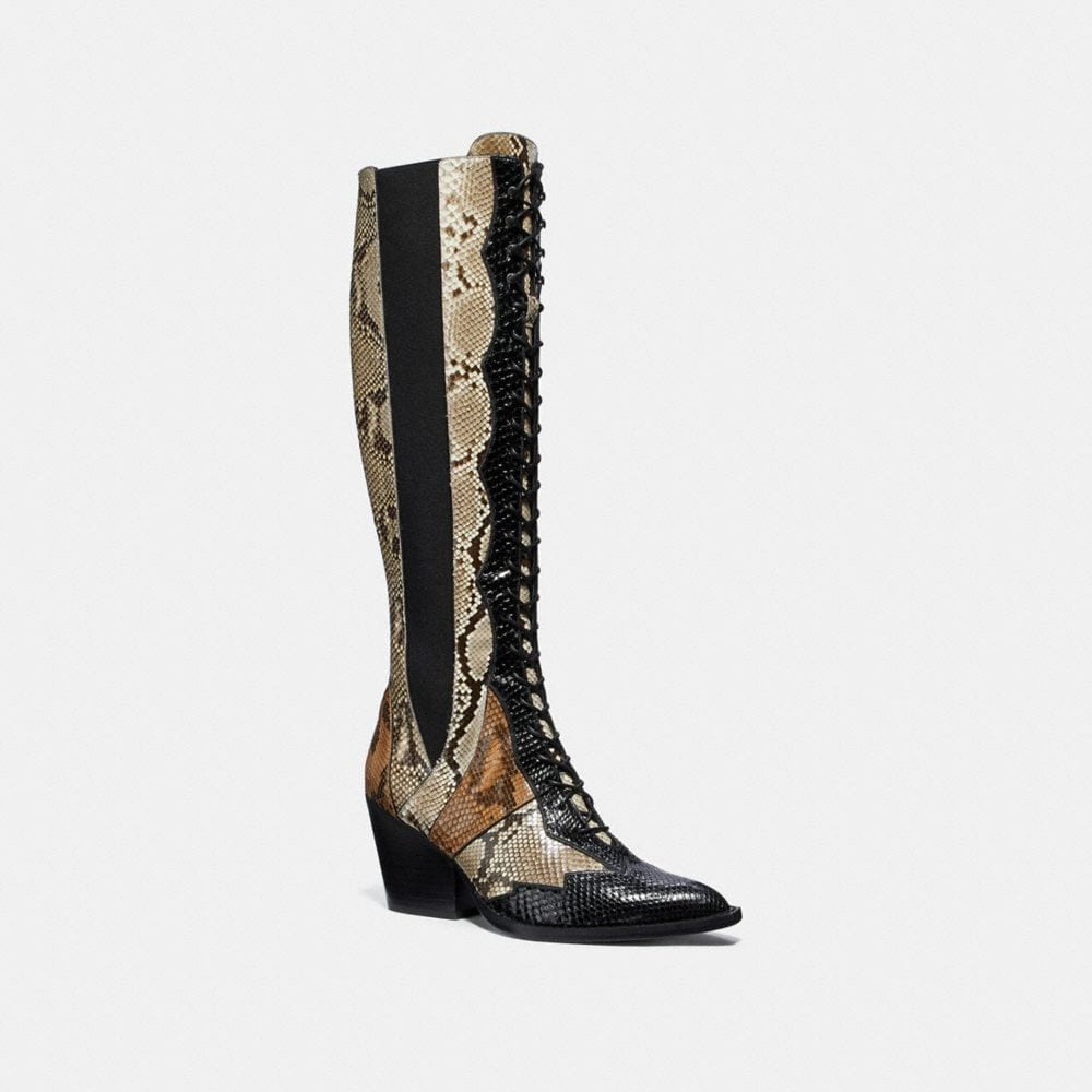 Coach Lace Up Boot With Patchwork Snake