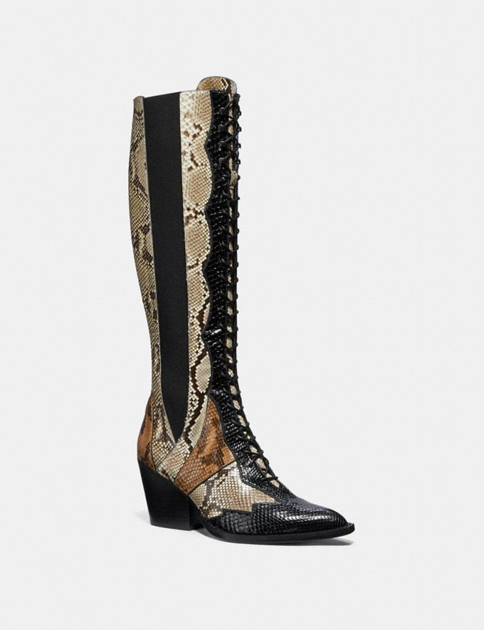 Coach Lace Up Boot With Patchwork Snake Black/Cuoio/Roccia