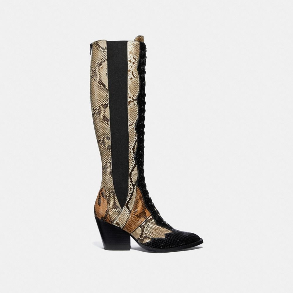 Coach Lace Up Boot With Patchwork Snake Alternate View 1