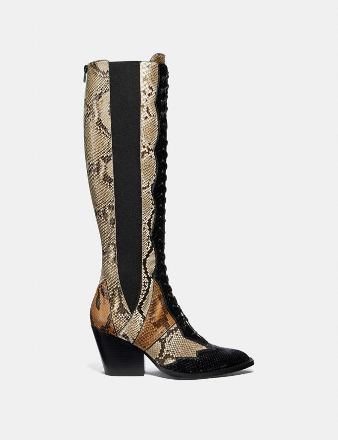 Coach Lace Up Boot With Patchwork Snake Black/Cuoio/Roccia  Alternate View 1