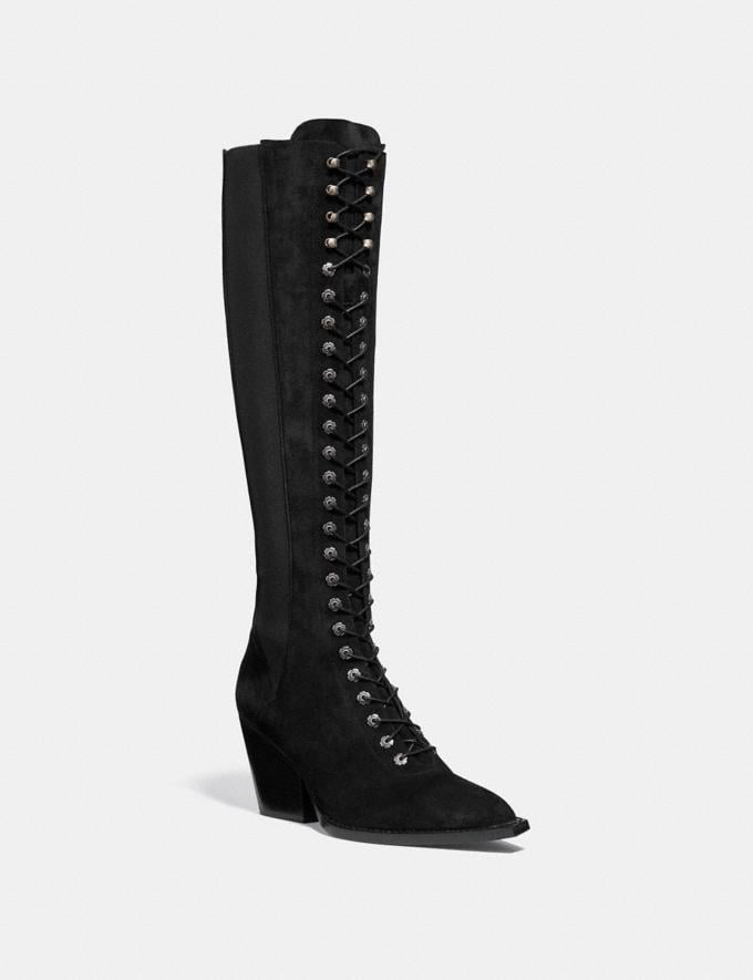 Coach Lace Up Boot Black Women Shoes Boots