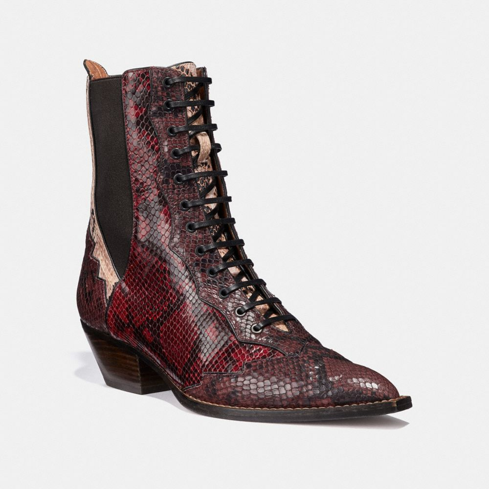 Coach Lace Up Bootie With Patchwork Snake