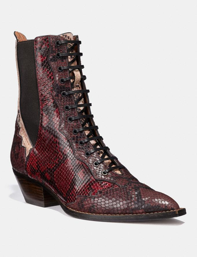 Coach Lace Up Bootie With Patchwork Snake Plum/Nude Pink/Red