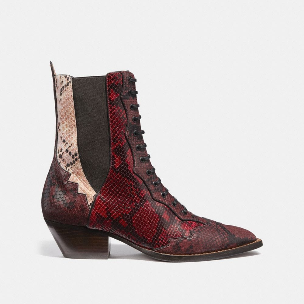 Coach Lace Up Bootie With Patchwork Snake Alternate View 1