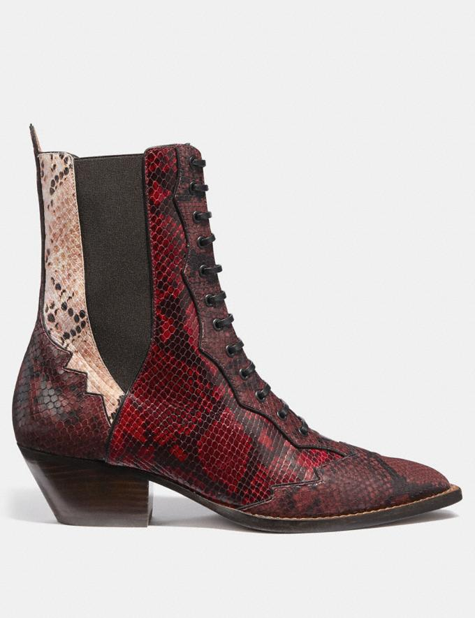 Coach Lace Up Bootie With Patchwork Snake Plum/Nude Pink/Red  Alternate View 1