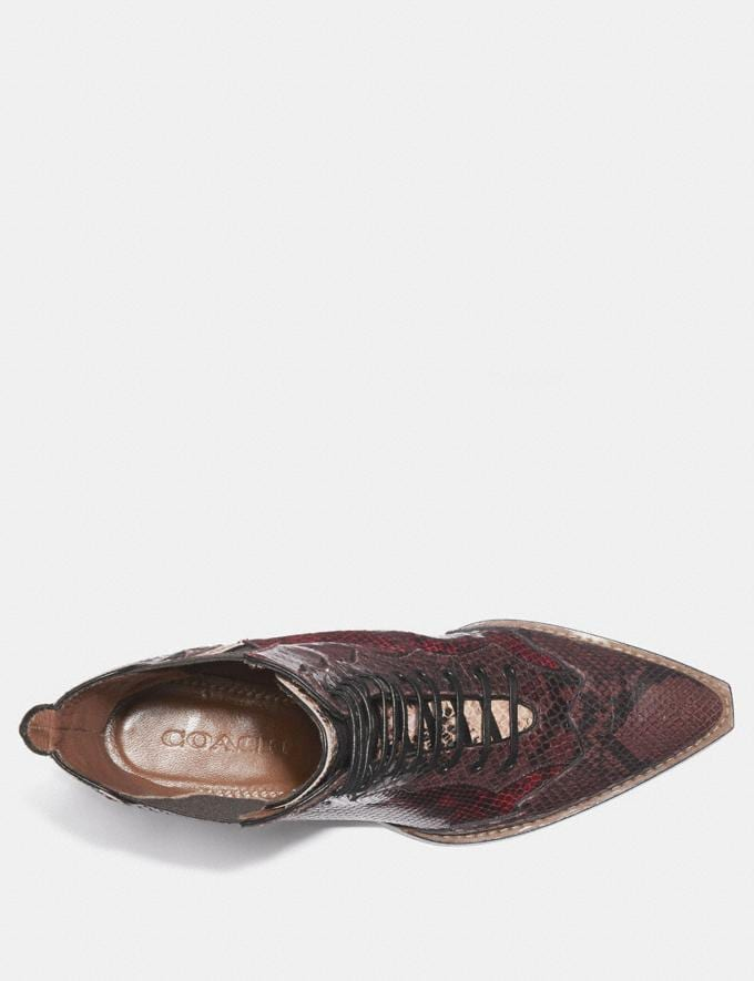 Coach Lace Up Bootie With Patchwork Snake Plum/Nude Pink/Red  Alternate View 2