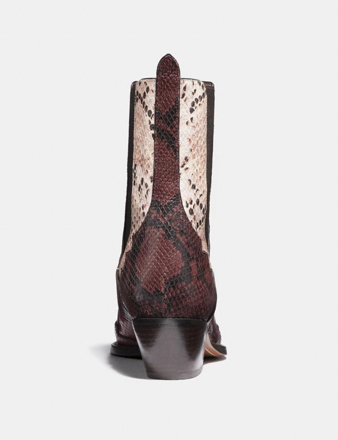 Coach Lace Up Bootie With Patchwork Snake Plum/Nude Pink/Red  Alternate View 3