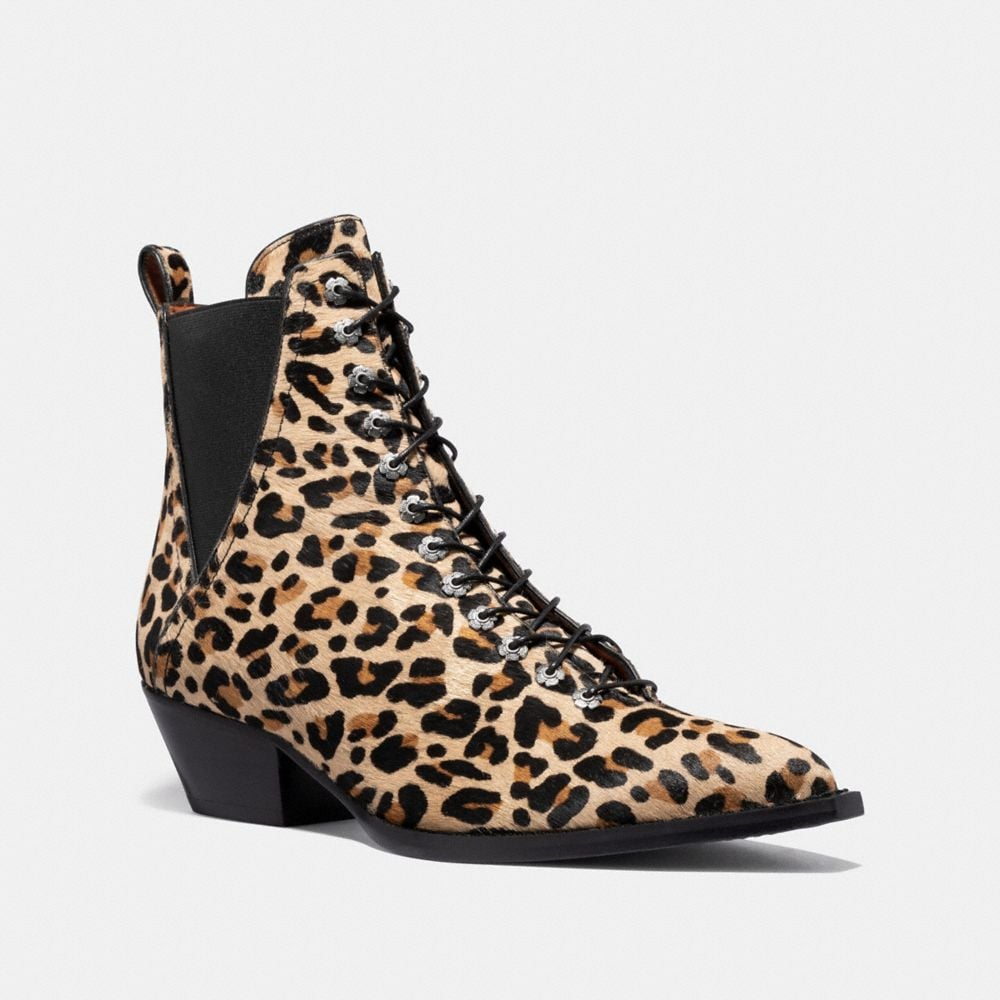 Coach Lace Up Bootie With Leopard Print