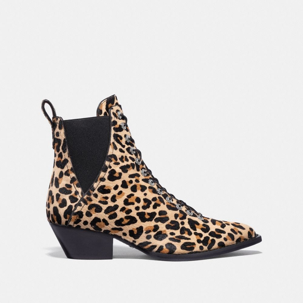 Coach Lace Up Bootie With Leopard Print Alternate View 1