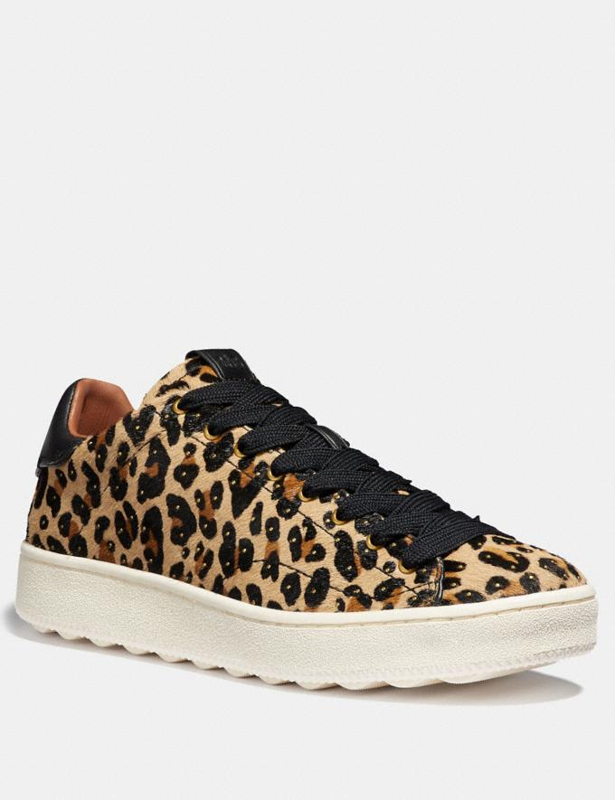 Coach C101 With Leopard Print Natural/Black Women Shoes Trainers