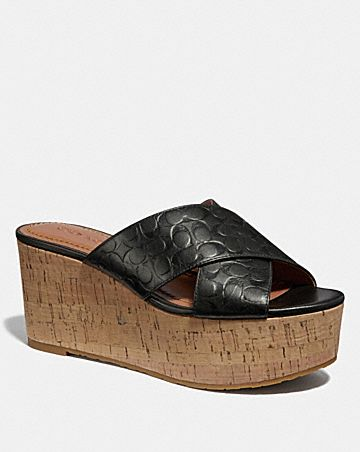 CROSS BAND WEDGE SLIDE SANDAL