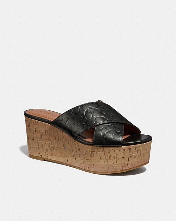 Coach CROSS BAND WEDGE SLIDE SANDAL