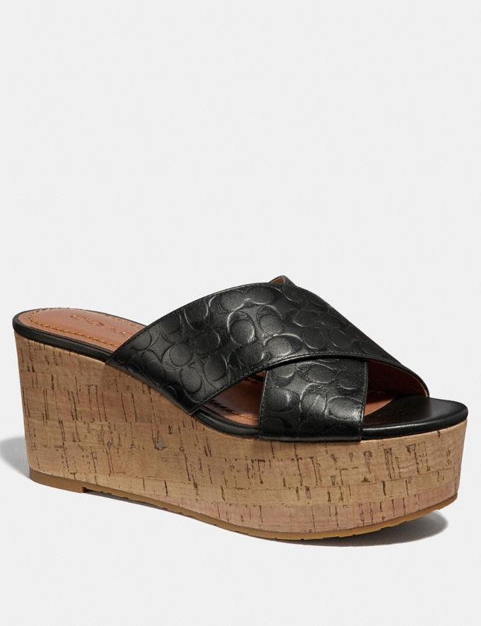 Coach Cross Band Wedge Slide Sandal Black SALE Women's Sale Shoes