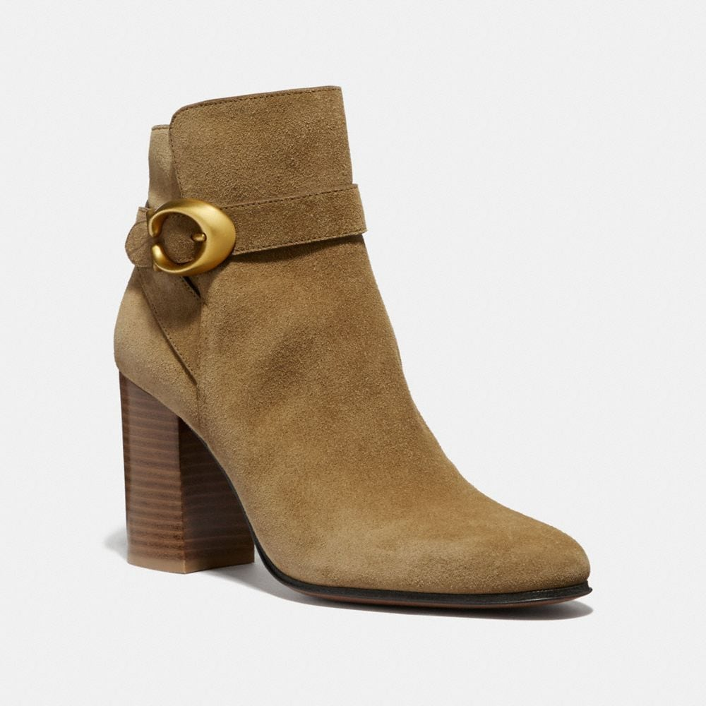 Coach Delaney Signature Buckle Heel Bootie