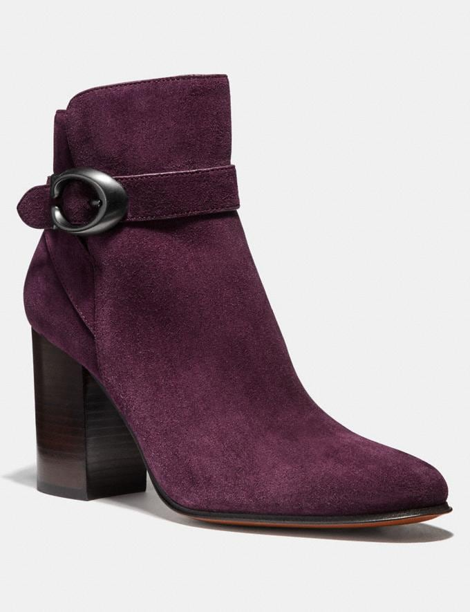 Coach Delaney Signature Buckle Heel Bootie Oxblood Women Shoes Booties