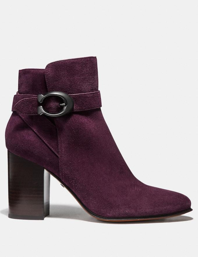Coach Delaney Signature Buckle Heel Bootie Oxblood SALE Women's Sale Alternate View 1