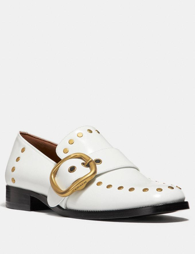 Coach Alexa Loafer With Studs White Staff Sale