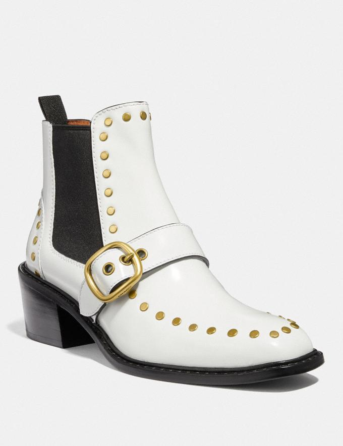 Coach Nora Chelsea Bootie With Studs White Women Shoes Booties