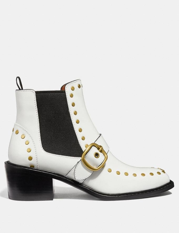 Coach Nora Chelsea Bootie With Studs White SALE Women's Sale Shoes Alternate View 1